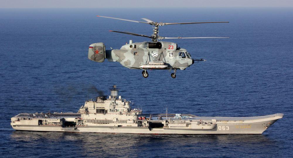 Těžký letadlový křižník Admirál Kuzněcov a vrtulník Ka-29