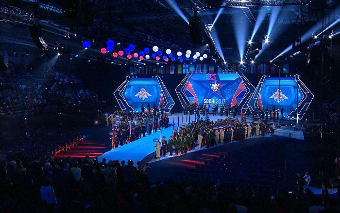 Zahajovací ceremoniál vojenských her v Soči