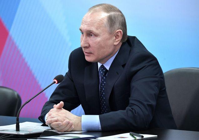 Ruský prezident Vladimir Putin v Krasnojarsku