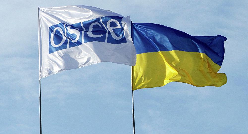 Vlajky OBSE a Ukrajiny
