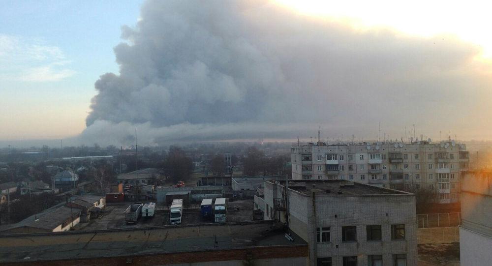 Požár na skladu v Charkovské oblasti