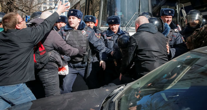 Nepovolená protestní akce v centru Moskvy