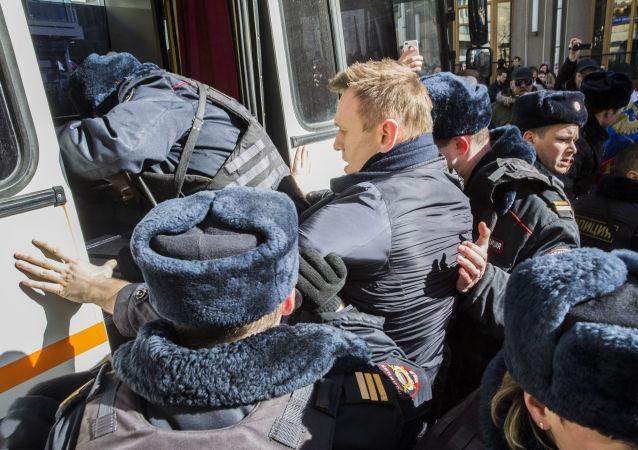 Opoziční politik Alexej Navalnyj během akce v Moskvě. Ilustrační foto