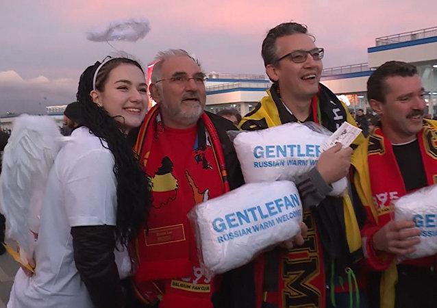 Polštáře Gentlefan a objetí: jak uvítali belgická fanoušky v Soči