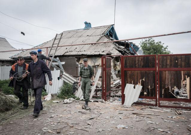 Následky ostřelování Horlivky