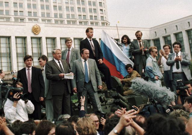Jelcin během puče