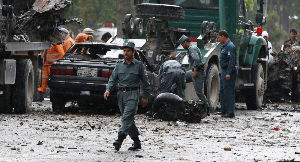 Policie na místě vývuchu v Kábulu