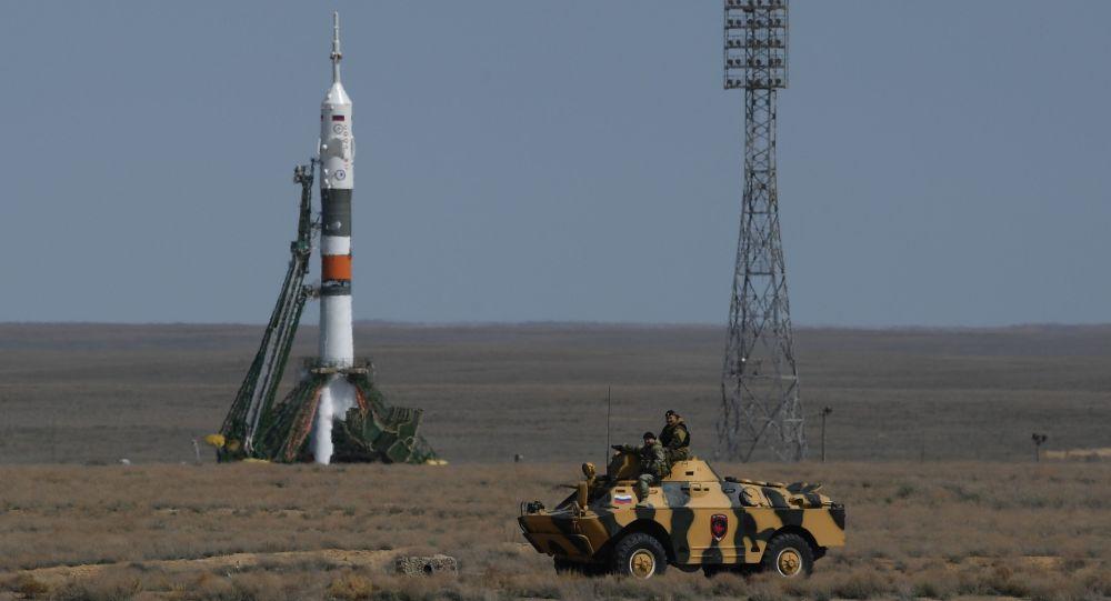 Nosná raketa Sojuz-FG na kosmodromu Bajkonur