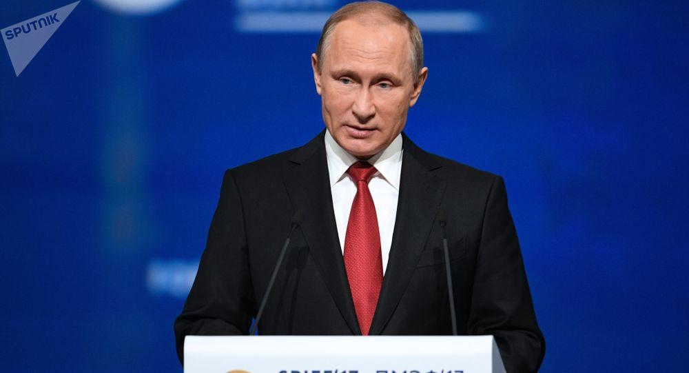 Ruský prezident Vladimir Putin vystupuje na PMEF 2017