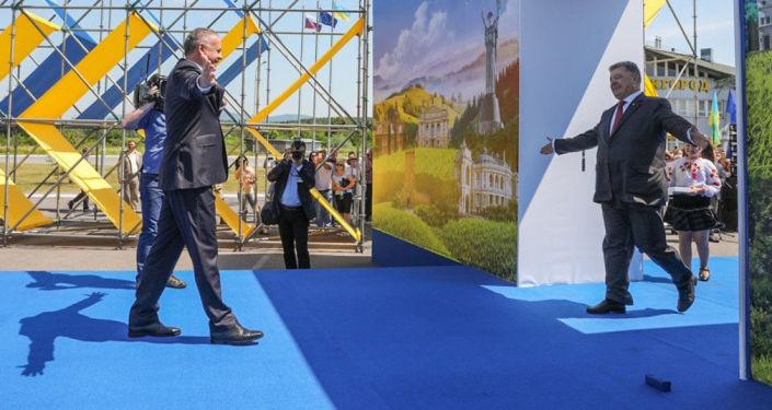 Ukrajinský prezident Petro Porošenko během slavnostního zahájení bezvízového režimu s EU