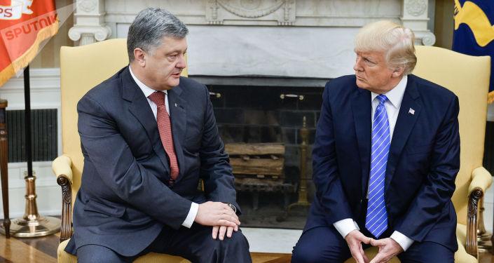 Ukrajinský prezident Petro Porošenko během schůzky s americkým prezidentem Donaldem Trumpem