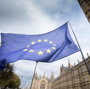 Evropská vlajka v Londýnu