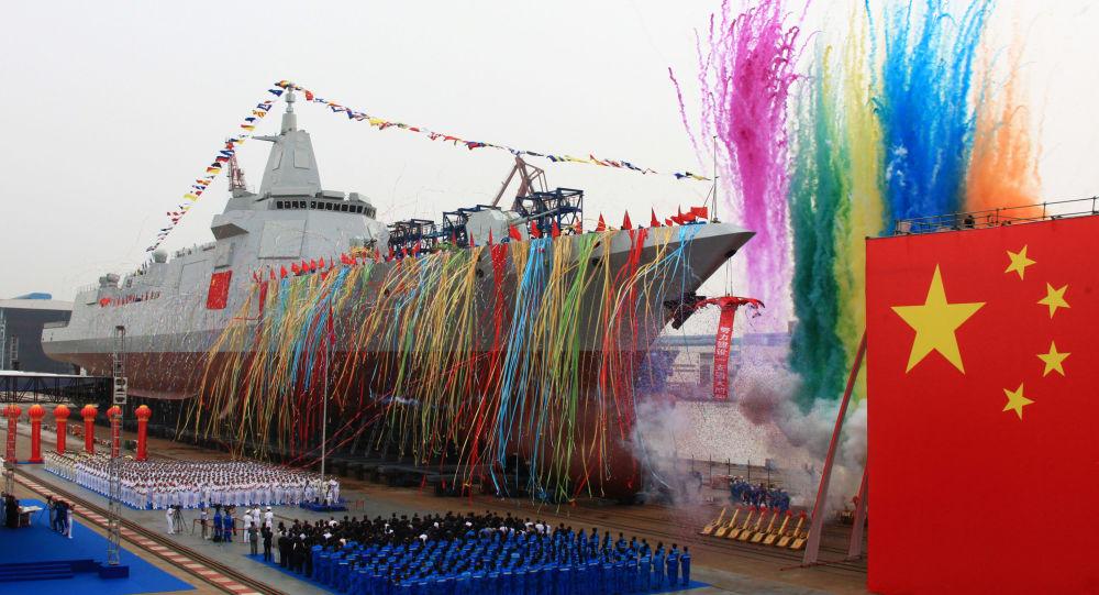 Spuštění na vodu čínského torpédoborce Jiangnan Shipyard