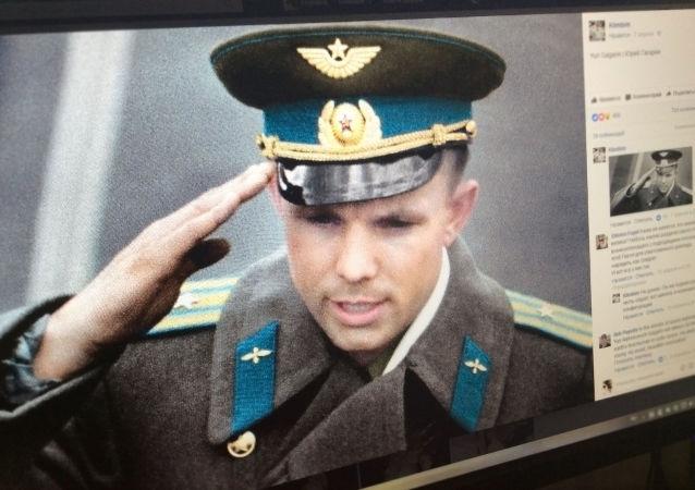Fotografie Jurije Gagarina kolorizovaná Olgou Širninovu