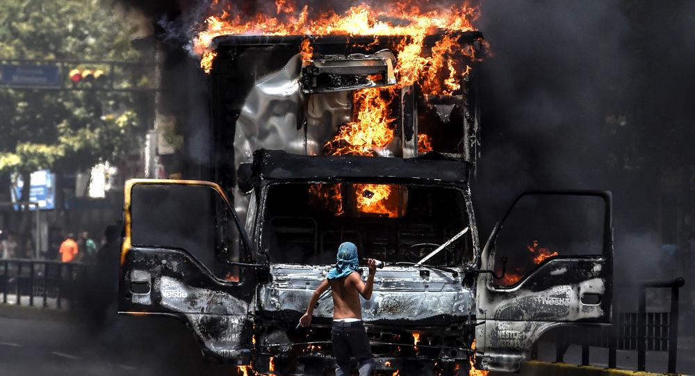 Protesty opozice v Caracasu, Venezuela