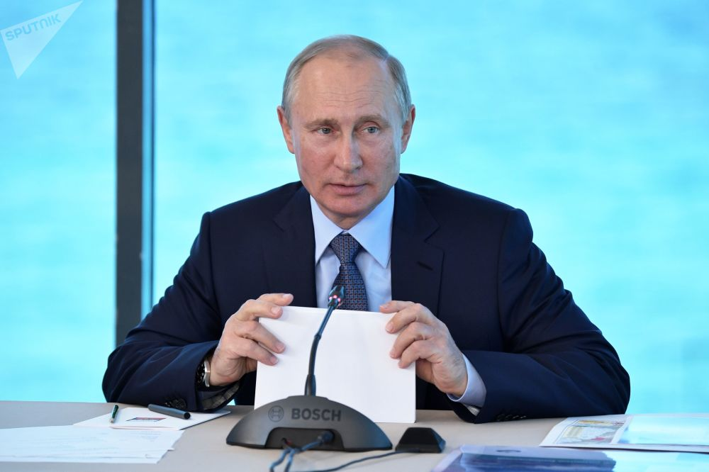 Ruský prezident Vladimir Putin provádí poradu o otázkách rozvoje Bajkalského přírodního území