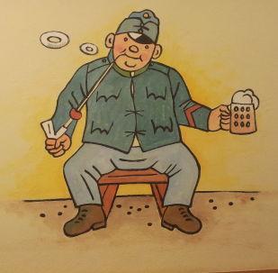 Osudy dobrého vojáka Švejka za světové války - graffiti v Praze