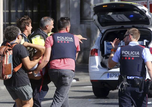 Policie na místě útoku v Barceloně