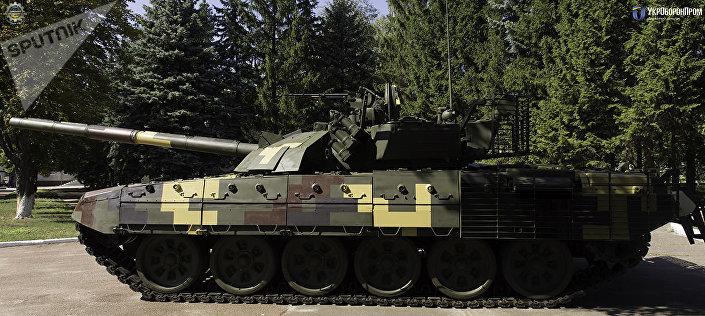 Tank T-72A, který prošel modernizací na kyjevském závodě