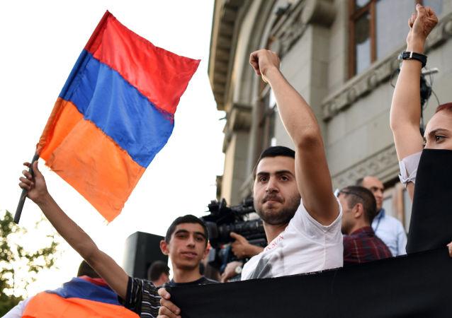 Protestné akce v Jerevanu. Archivní foto
