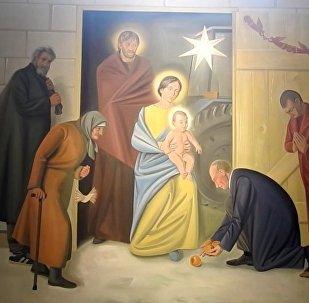 Vitebský kostel vyzdobili freskami s Putinem a Obamou