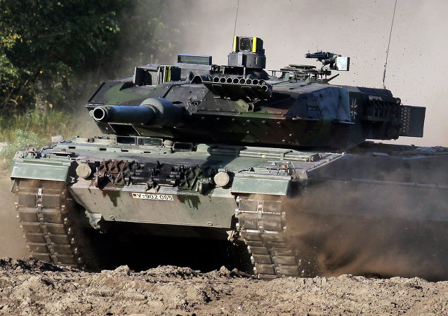 Tank Leopard 2 na polygonu u Hannoveru