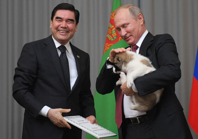 Gurbanguly Berdimuhamedow daroval Vladimiru Putinovi štěně pasteveckého psa