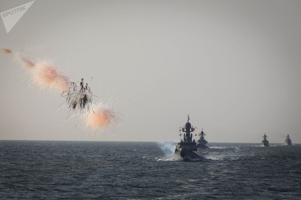 Vojenské cvičení loďstva Kaspické flotily