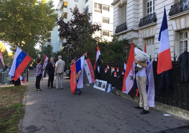 Akce na podporu akcí Ruska v Sýrii