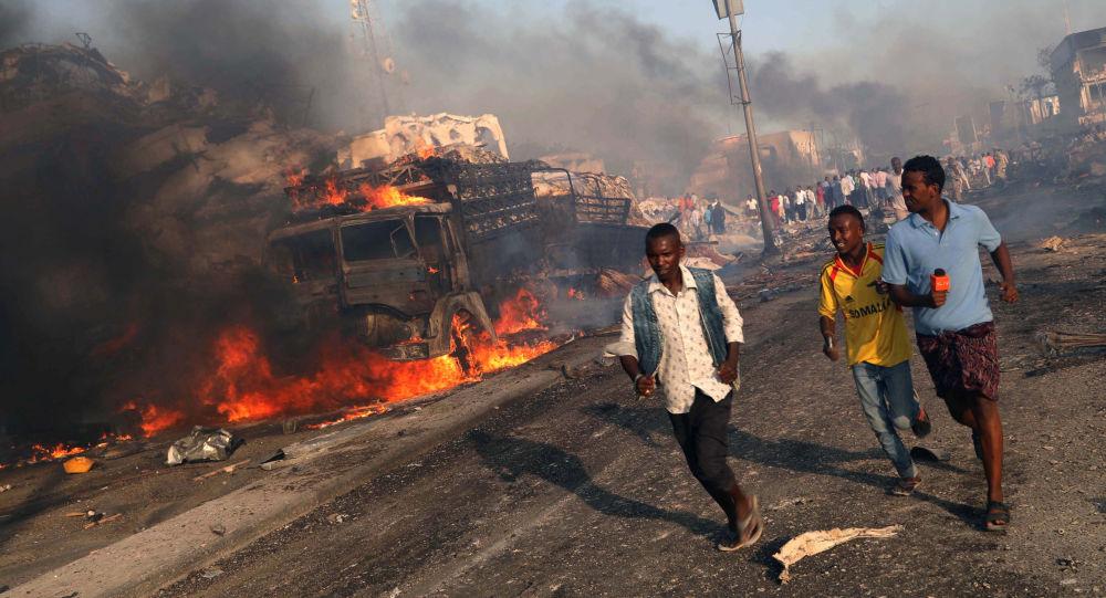 Místo výbuchu v Mogadišo, Somálsko