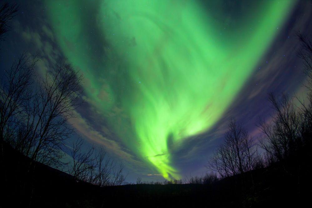 Polární záře v okolí Murmansku