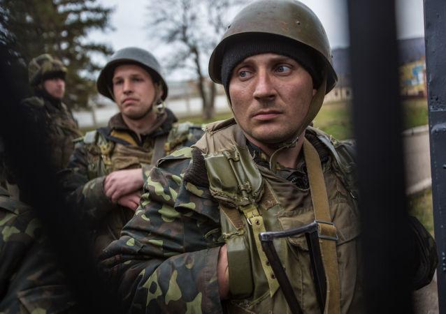 Ukrajinští vojáci na základně