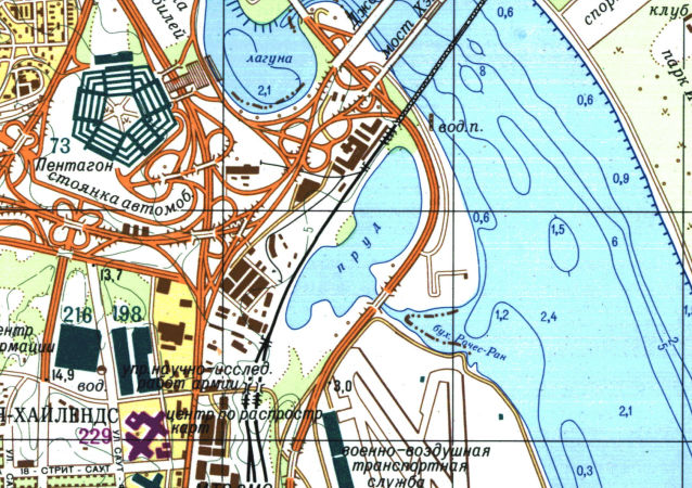 Část velice přesné sovětské mapy Washingtonu