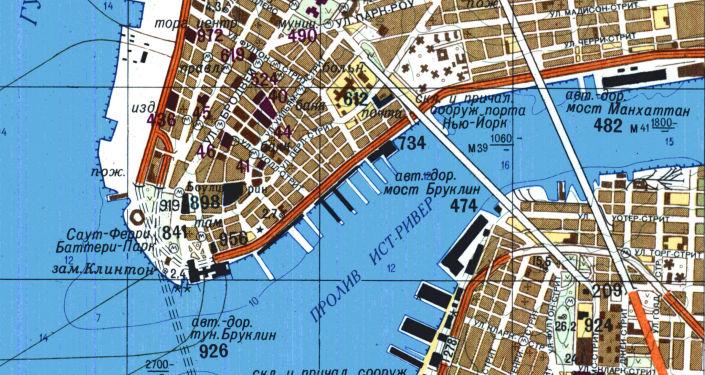 Část velice přesné sovětské mapy New Yorku