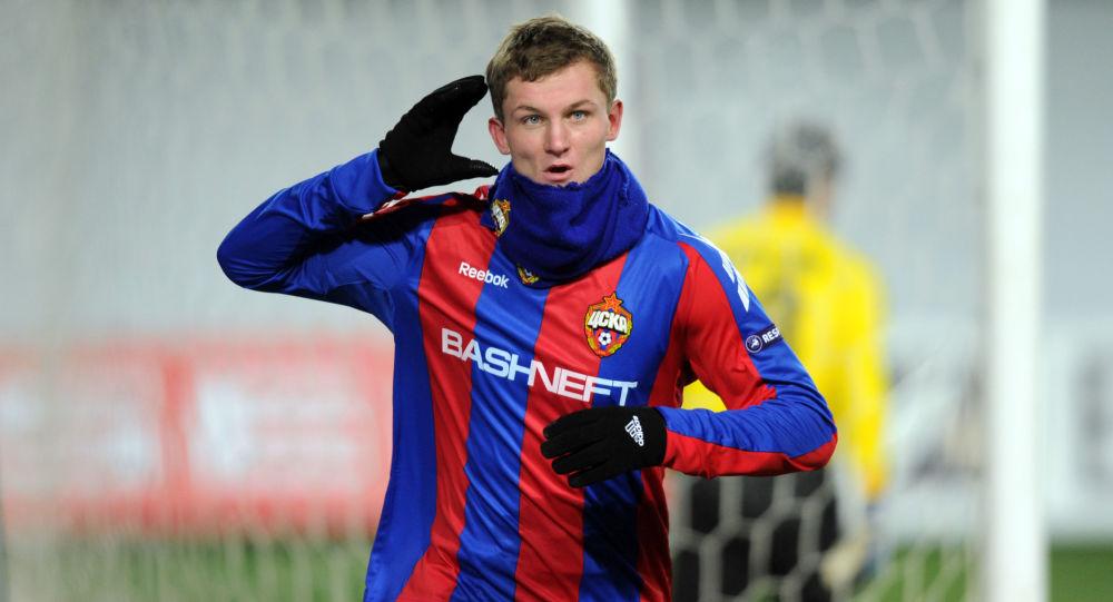 Tomáš Necid v dresu moskevského CSKA
