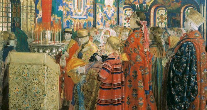 Obraz od Andreje Rjabuškina Rusky XVII. století v kostelu