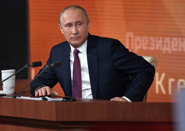 Ruský prezident Vladimir Putin během Velké tiskové konference