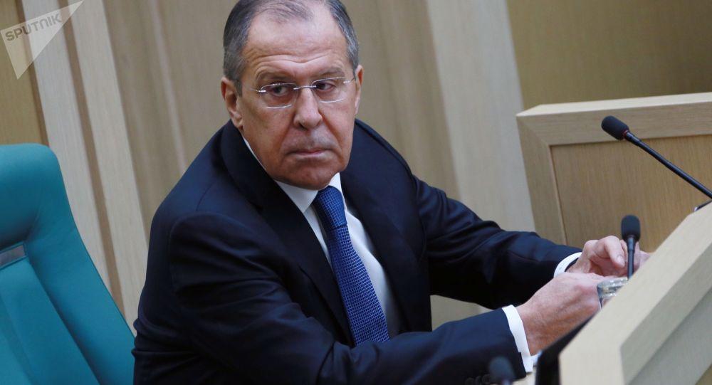 Ruský ministr zahraničí Sergej Lavrov během zasedání Rady Federace RF