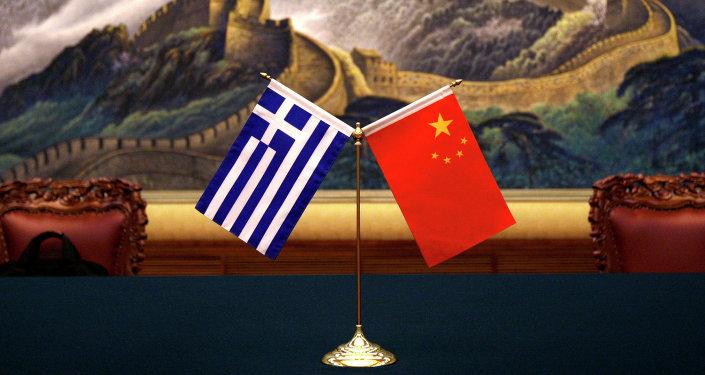 Vlajky Číny a Řecka