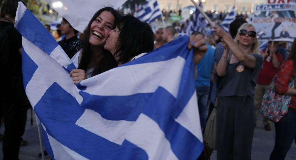 Řeci slaví výsledky referenda v centru Athén