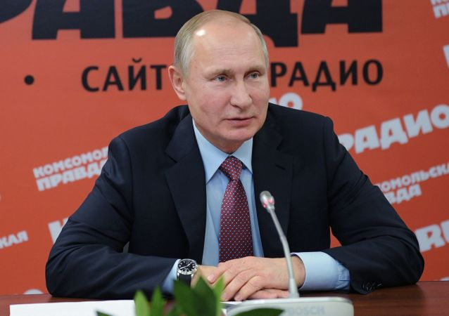 Ruský prezident Vladimir Putin na setkání s šéfredaktory ruských novin a informačních agentur