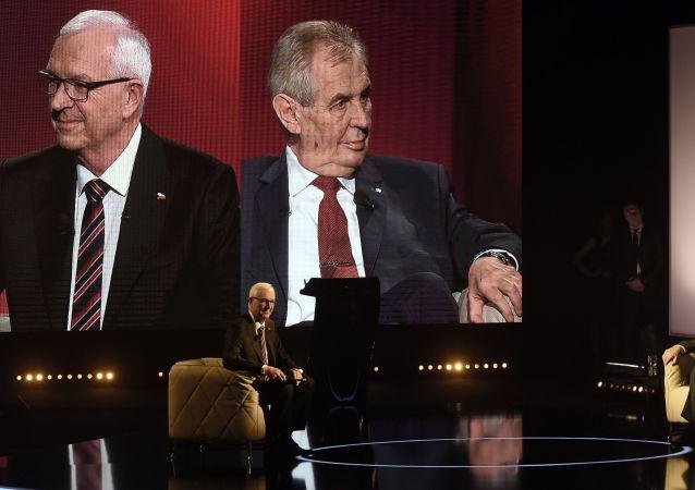 Debata Jiřího Drahoše a Miloše Zemana