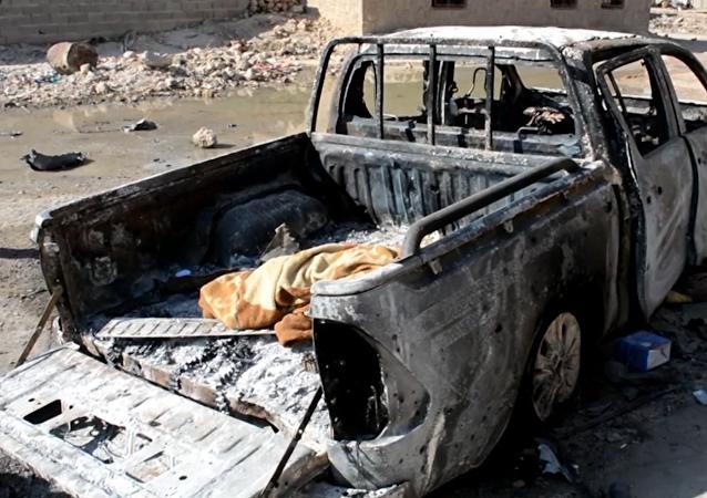 Následky ostřelování v Iráku