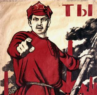 """Plakát umělce Dmitrije Moore """"Přihlásil ses jako dobrovolník?"""" 1920"""