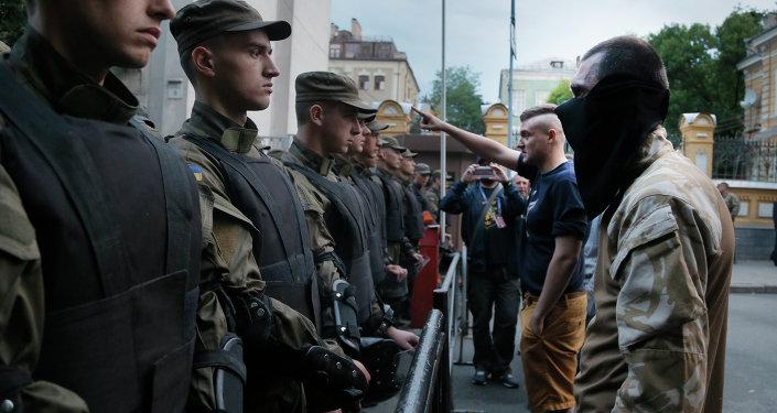Aktivisté Pravého sektoru v Kyjevě