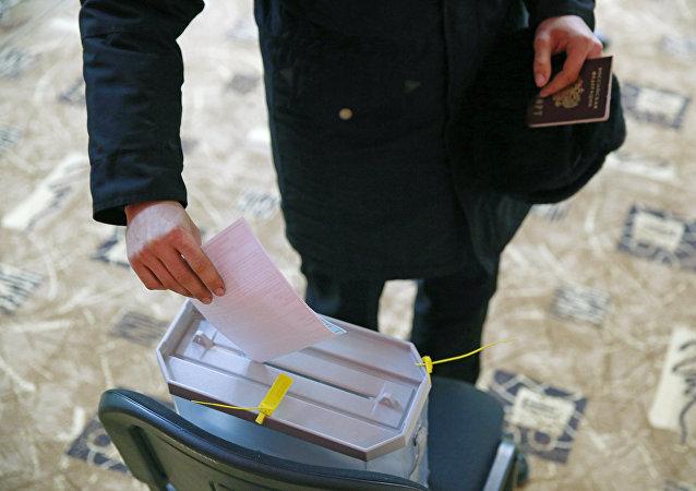 Předčasné hlasování ve volbách prezidenta v Rusku. Ilustrační foto