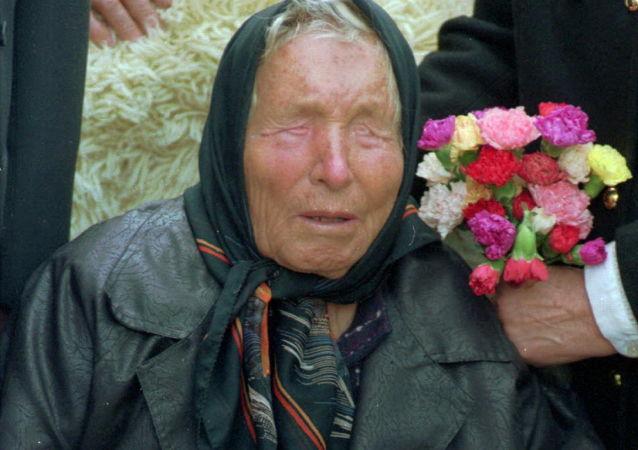 Baba Vanga, vlastním jménem Vangelija Pandeva Dimitrova – Gušterova. Fotografie z roku 1994