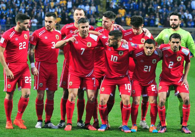 Reprezentace Gibraltaru před zápasem s Bosnou a Hercegovinou