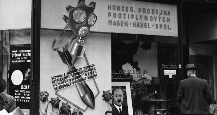 Plynové masky v Praze, rok 1938