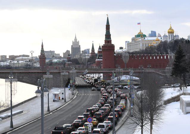 Pohled na zimní Kreml